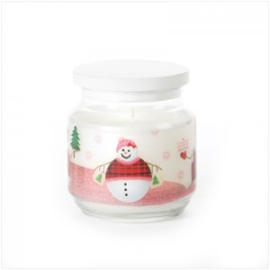 Discount Christmas Shopping: Snowman Glass Jar Candle