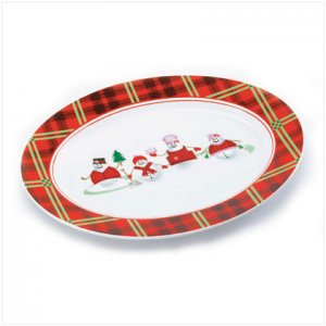 Discount Christmas Shopping: Perfectly Plaid Snowman Oval Serving Platter