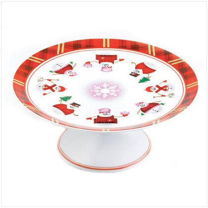 Discount Christmas Shopping: Perfectly Plaid Snowman Pedestal Cake Plate