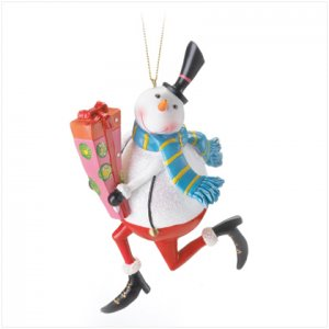 Discount Christmas Shopping: Snowman with Gift Ornament
