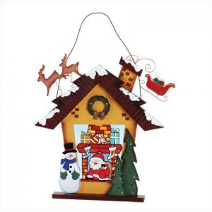 Discount Christmas Shopping:  Stained Glass Santa Christmas House