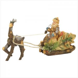 Discount Christmas Shopping: Wood Cut Santa with Reindeer