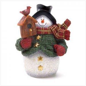 Discount Christmas Shopping: Green Jacket Snowman Figurine