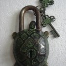 ANTIQUE Style TORTOISE Type Padlock - Lock with Key - Brass Made