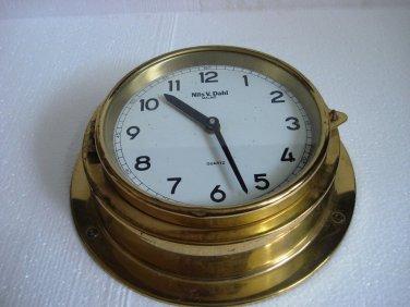 NILS V. DAHL - MALMO  Marine WALL QUARTZ Clock - BRASS - SHIP'S ORIGINAL