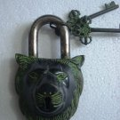 ANTIQUE Style LION Type Padlock - Lock with Key - Brass Made