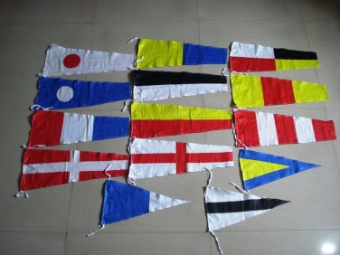 "International MARITIME Pennants (Signal Flags) - 20"" X 8.5"" - Total 14 Flags"