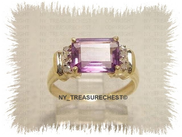 Amazing 3.00ct Emerald Cut Genuine Amethyst and  Diamonds Solid Yellow Gold Ring