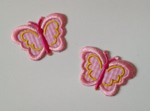 Butterfly emboridery patch Gingham pink badge ooak DIY Hair clip doll Handband�4DesignCraft�