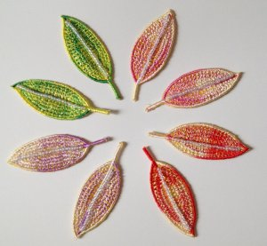 bead beading Shinny leaves  embroidery badge DIY accessory Embellishment�4DesignCraft�