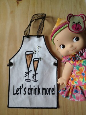 wine apron brithday gift wedding party dinner cheers let's drink more-4designcraft