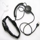 2 sensors Throat mic headset with PTT and 3.5mm earphone  for Icom radio IC-40 IC-4008A  IC-40JR