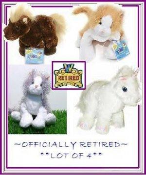 Webkinz ~~Retired Lot of 4~~ Brown horse, Grey (Gray)/ White cat, Orange Gold / White cat, & Unicorn