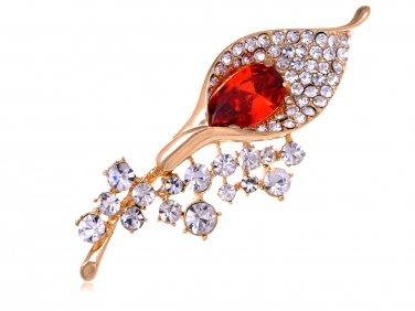 Glod Finish Red Calla lily flower Austrian Crystal pin brooch