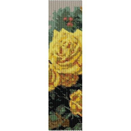 Columns For Sale >> PERFECT YELLOW ROSE BY THOMAS KINKADE - LOOM beading pattern for cuff bracelet SALE HALF PRICE OFF