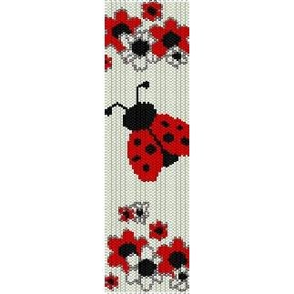 Ladybug In Flowers Peyote Beading Pattern For Cuff