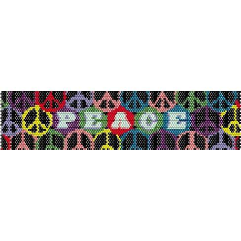 Peace Rainbow Peyote Beading Pattern For Cuff Bracelet