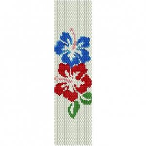 HIBISCUS DUO  - LOOM beading pattern for cuff bracelet SALE HALF PRICE OFF