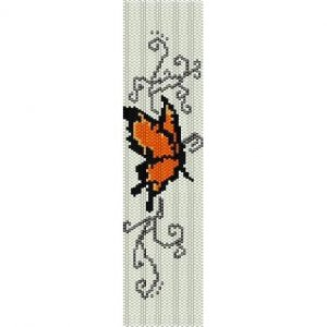 Orange Butterfly Loom Beading Pattern For Cuff Bracelet