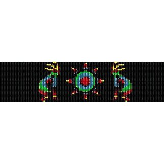 Kokopelli And Sun Native Peyote Beading Pattern For Cuff