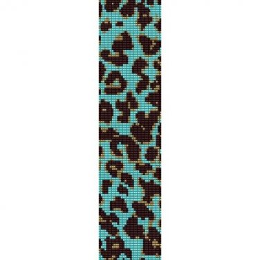 LEOPARD PRINT TURQUOISE PATTERN - PEYOTE beading pattern for cuff bracelet SALE HALF PRICE OFF
