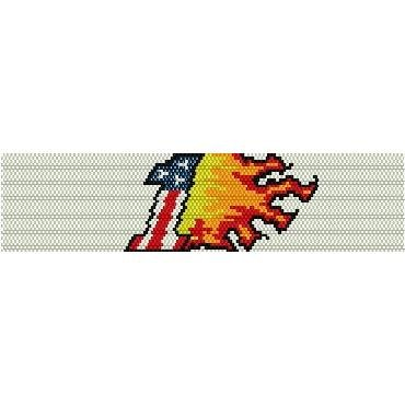 FLAMING NUMBER ONE  - LOOM beading pattern for cuff bracelet SALE HALF PRICE OFF