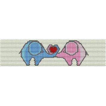 Elephants In Love Loom Beading Pattern For Cuff Bracelet