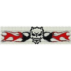 SKULL IN FLAMES TATTOO  - LOOM beading pattern for cuff bracelet SALE HALF PRICE OFF