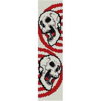 SKULLS IN TARGET  - LOOM beading pattern for cuff bracelet SALE HALF PRICE OFF
