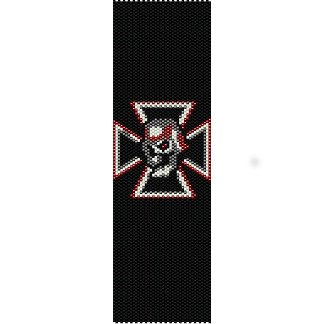 IRON SKULL AND CROSS  - LOOM beading pattern for cuff bracelet SALE HALF PRICE OFF