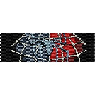Spiderman Logo Loom Beading Pattern For Cuff Bracelet