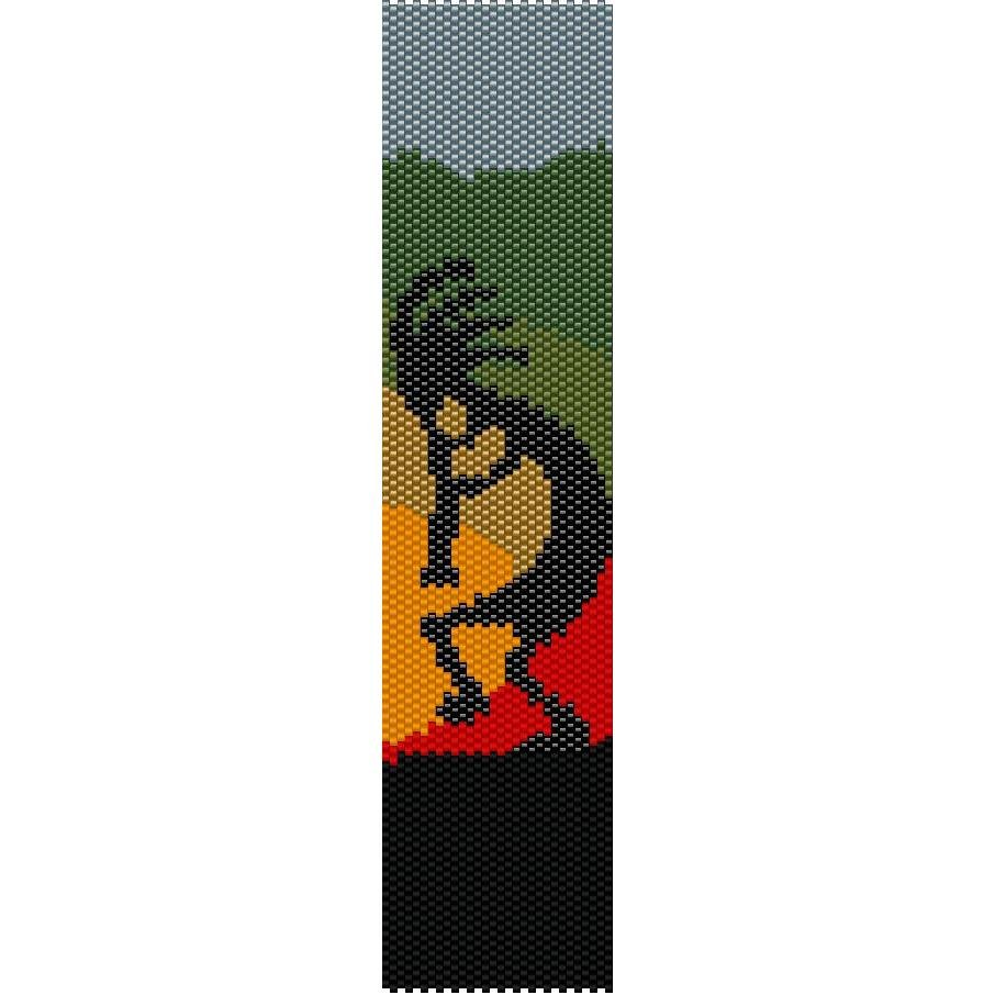 Dancing Kokopelli Native Loom Beading Pattern For Cuff