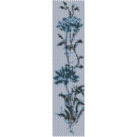 Icy Blue Flower Loom Beading Pattern For Cuff Bracelet