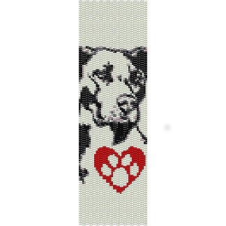 I Love My Pit Bull Dog Loom Beading Pattern For Cuff