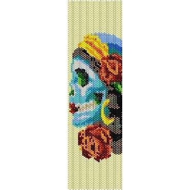 Sugar Skull Candy Loom Beading Pattern For Cuff Bracelet