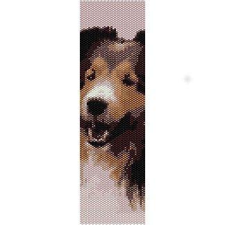 SMILING SHELTIE DOG, SHETLAND SHEEPDOG  - LOOM beading pattern for cuff bracelet SALE HALF PRICE OFF