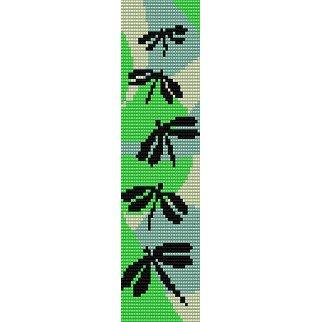 SPRING DRAGONFLIES  - LOOM beading pattern for cuff bracelet SALE HALF PRICE OFF