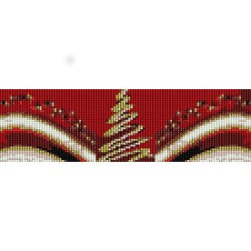 CHRISTMAS TREE RED  - LOOM beading pattern for cuff bracelet SALE HALF PRICE OFF