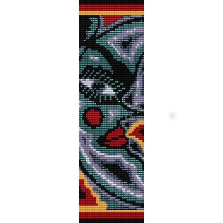 MOON HUICHOL ART  - LOOM beading pattern for cuff bracelet SALE HALF PRICE OFF