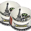 J'adore Paris Hand Painted Personalized Large Dog Bowl
