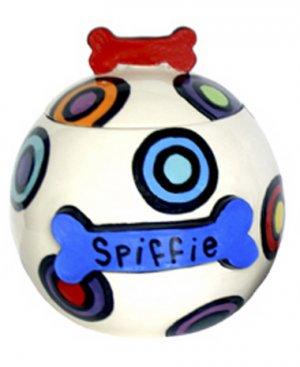 Spiffie - 7 Inch Dog Treat Jar - Handpainted - Personalized