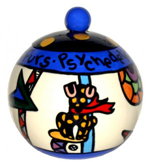 Psychedelic Furs - 7 Inch Dog Treat Jar - Handpainted - Personalized