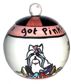 Got Pink Dog Treat Jar - 7 Inch - Handpainted - Personalized