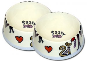 Sassy - Set Of Cat Bowls - Handpainted - Personalized Pet Cat Dishes