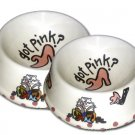 Got Pink - Set Of Cat Bowls - Handpainted - Personalized