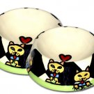 Feed Me - Small Set Of Cat Bowls - Handpainted - Personalized Cat Pet Bowls