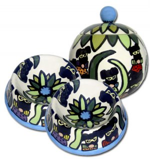 Masquerade - Small Dog Bowls And Pet  Dog Treat Jar Combo