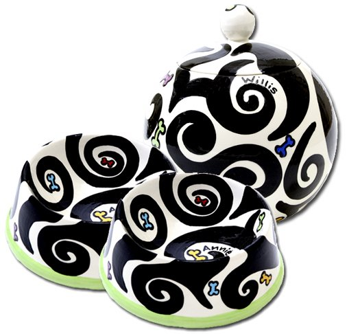Black And White With Colour - Small Dog Bowls - Small Pet Dog Treat Jar Combo