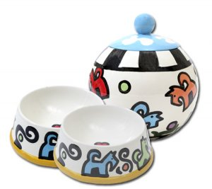 Bonznmice - Set Of Small Dog Bowls - Small Pet Dog Treat Jar Combo