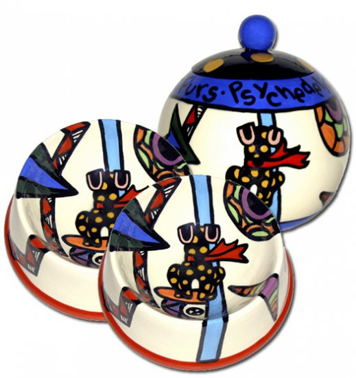 Psychedelic Furs - Small Set Of Dog Bowls - Small Pet Dog Treat Jar